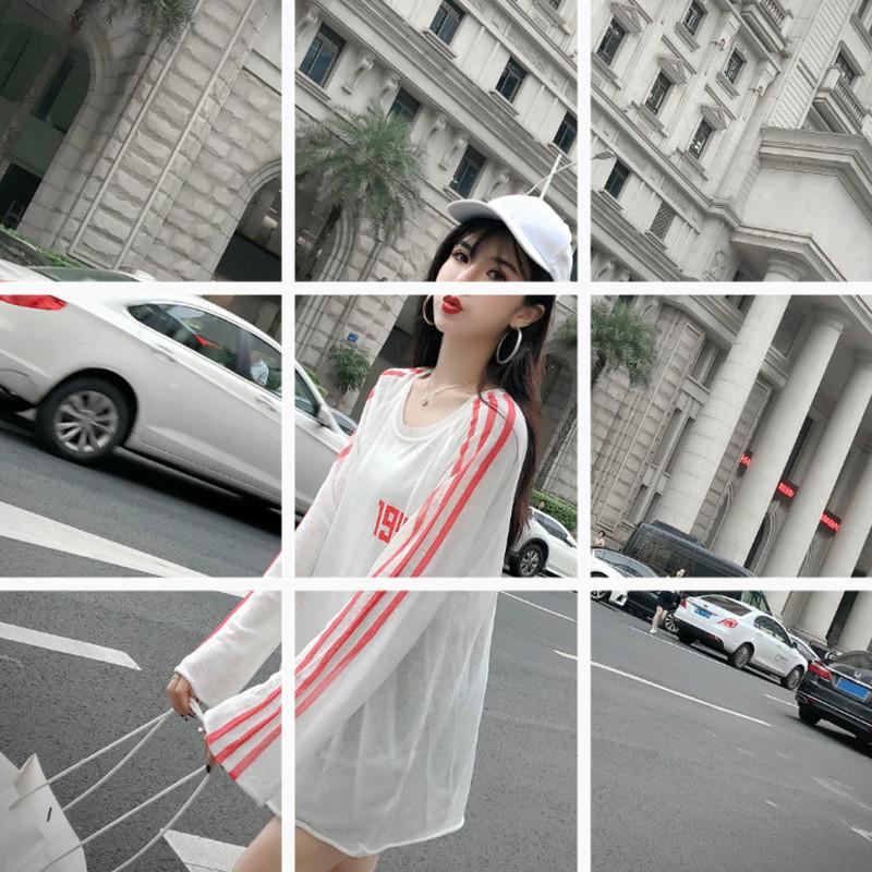 时尚韩版新款2019春夏季小清新百搭修身微透长袖超薄针织衫上衣潮