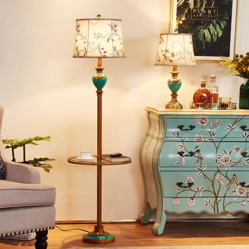 沙发茶几落地灯客厅卧室轻奢北欧美式复古创意床头落地台灯立式
