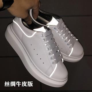 2019 новая весна и лето модель серебристые отражающий дикий фонд новичок обувной женщина натуральная кожа случайный свет толстая корка движение обувь, цена 2938 руб