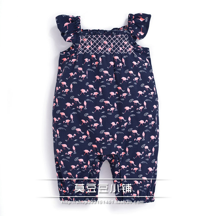 Foreign trade UK JOJO girls Cotton Khaki baby suspender one-piece shorts baby floral flat angle climbing suit
