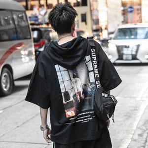 夏季薄款连帽短袖卫衣男潮牌半袖男潮T恤带帽欧美宽松嘻哈五分袖