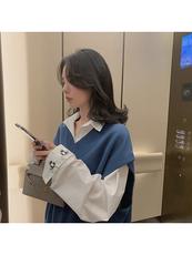 SIXONE六一2019新款初秋上衣长袖宽松印花白色衬衫女设计感小众
