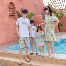 高端亲子装男童夏装套装沙滩海边度假一家三口四口装母女母子洋气