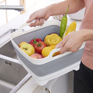 折叠式洗菜篮家用厨房水槽洗水果蔬菜篮子收纳筐塑料洗菜盆沥水篮