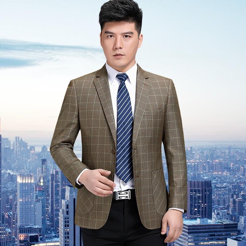 Middle aged mens thin coat leisure suit mens slim fit single west wool lattice business suit travel