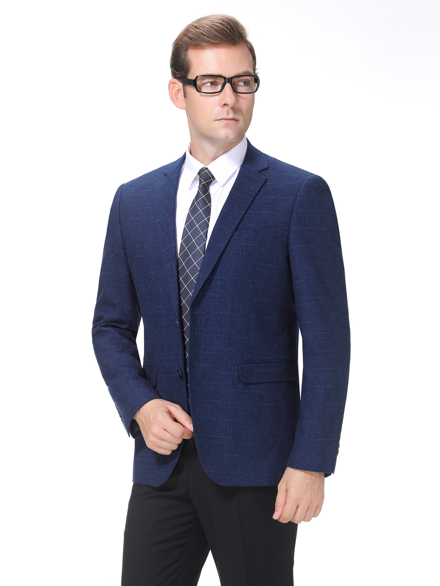 Autumn and winter wool suit mens single business casual coat middle-aged Plaid suit one piece, one grain, double breasted