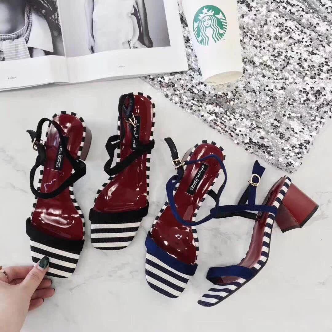 小清新條紋方頭粗跟涼鞋2018夏季新款一字扣露趾高跟鞋女韓版女鞋