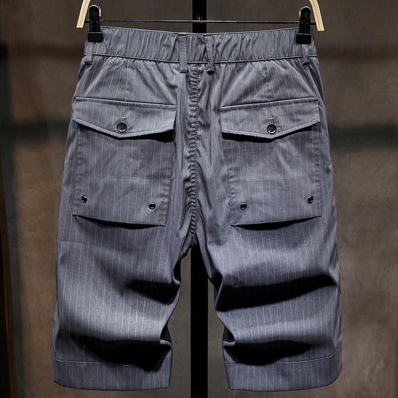 夏季薄款休闲短裤男潮牌ins条纹运动外穿裤子西装冰丝五分裤中裤