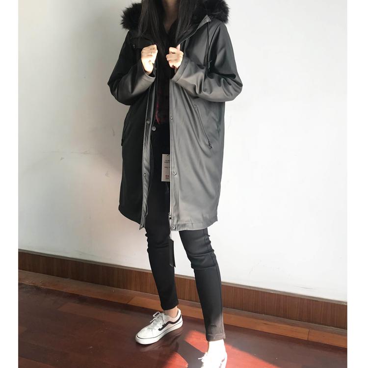 给老客的福利   炒好看  仿毛领中长款防风保暖夹克外套女