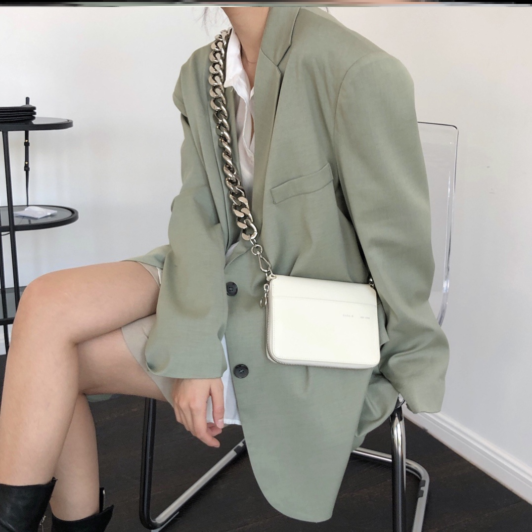 Spring new style blogger fashion silhouette LAPEL SUIT wide shoulder loose casual show thin practical wear jacket women