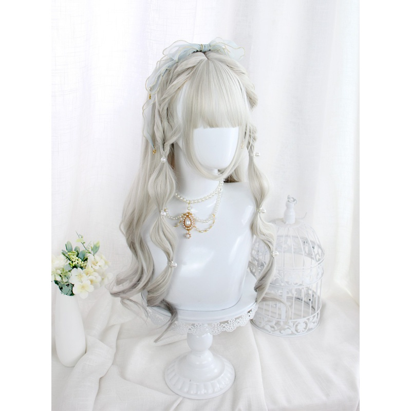 Harajuku wind gradient granny grey medium long micro curly Lolita Lolita Japanese daily cos Girl Wig
