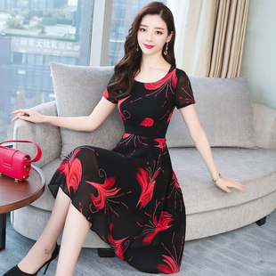 雪纺连衣裙2019新款夏气质流行高端长裙碎花裙子女长款显瘦女装潮