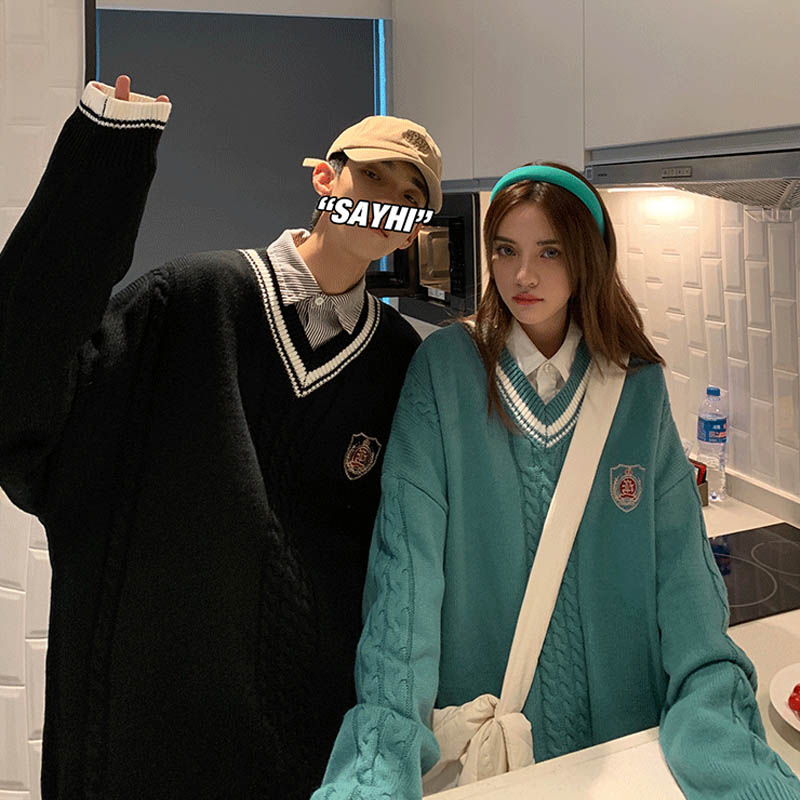 College style couple sweater 2021 new ins super fire V-Neck Sweater retro Japanese lazy DK jacket autumn