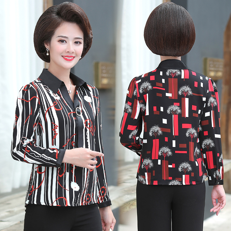 Mothers Day gift to buy 40 womens clothing 50 year old middle-aged people like to wear chiffon shirt long sleeve jacket Xiaoshan