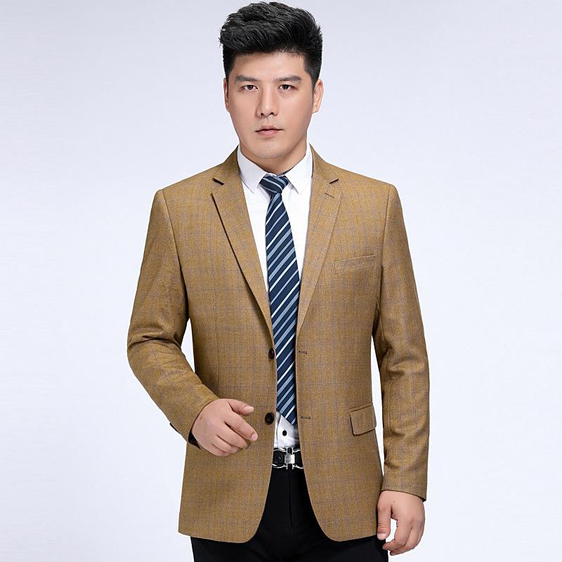 秋冬男士西服时尚休闲中年羊毛单西装潮男格子外套厚欧安娜