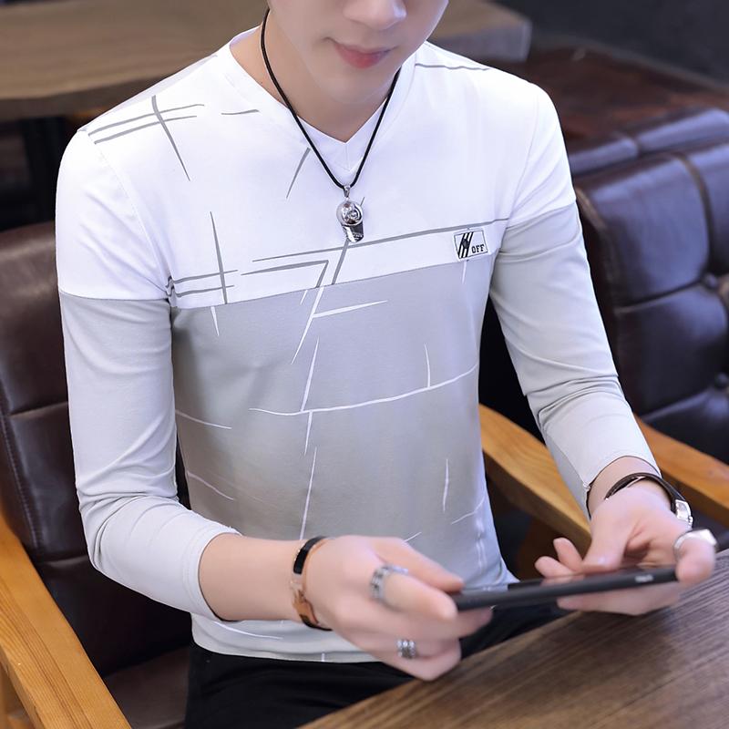 秋季男士长袖T恤韩版修身薄款打底衫潮男秋装新款上衣纯棉体恤衫