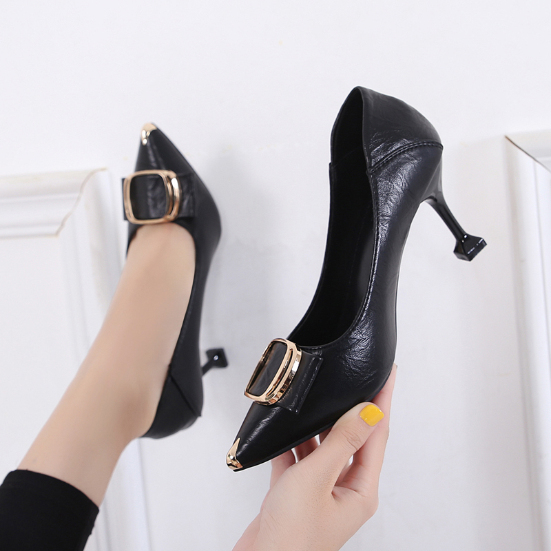 Soft leather pointed single shoes womens middle heel versatile thin heel shallow mouth 5cm cat heel high heels leather professional womens shoes