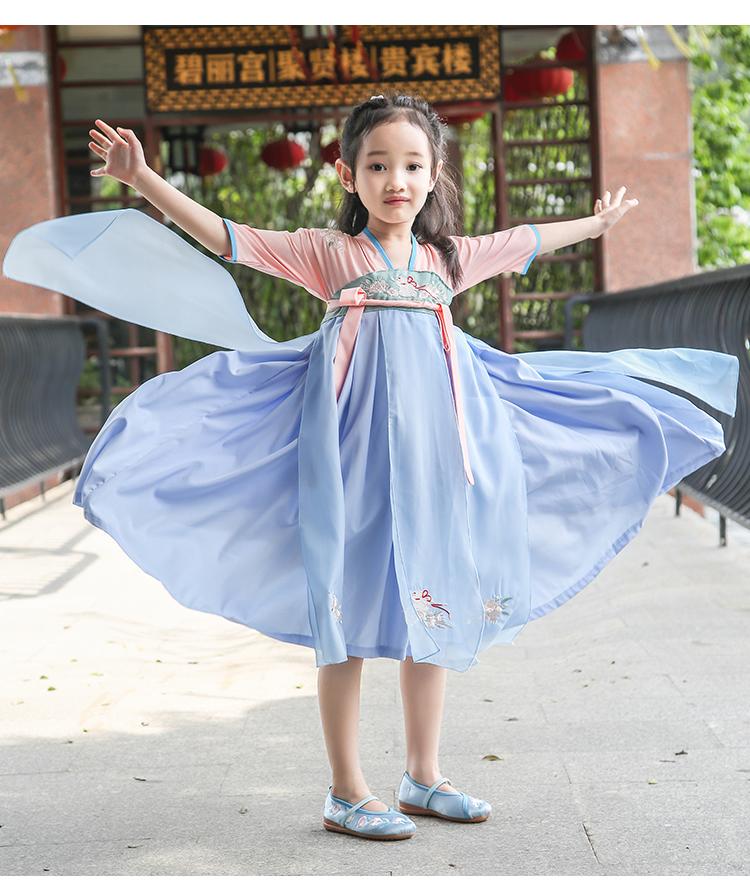 新款女童汉服唐装襦裙夏季短袖改良中国风刺绣宝宝连衣裙日常古装