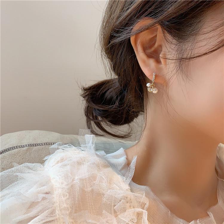 耳环简约水钻小珍珠韩国东大门时尚纯银耳钉百搭少女耳坠耳饰品