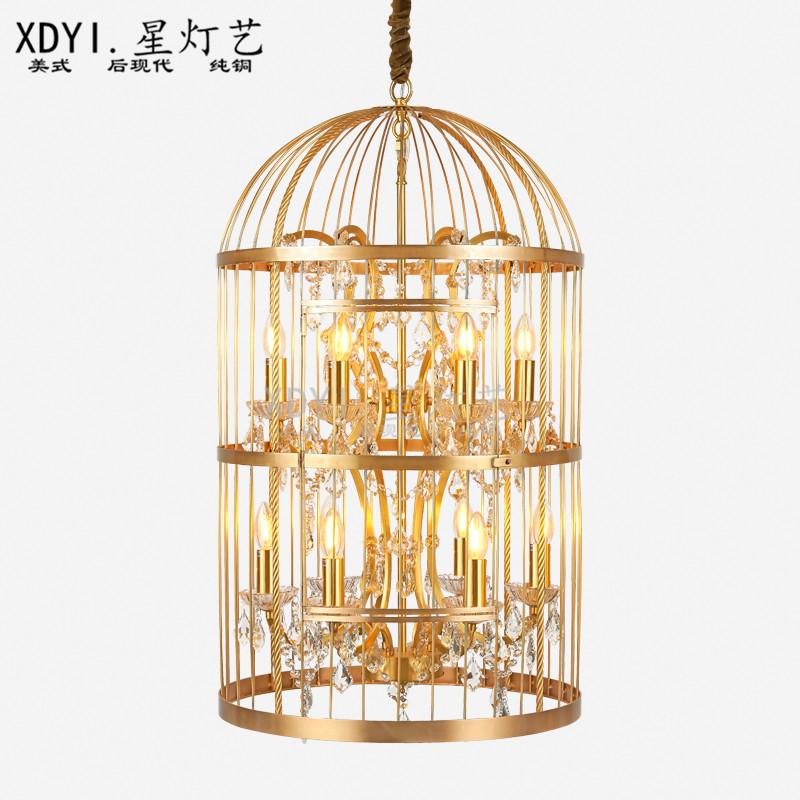 美式全铜水晶灯欧式鸟笼中式餐厅咖啡厅酒吧客厅全铜吊灯轻奢个性