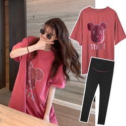 网红孕妇套装外出时尚款夏季两件套洋气中长款短袖T恤夏装宽松妞
