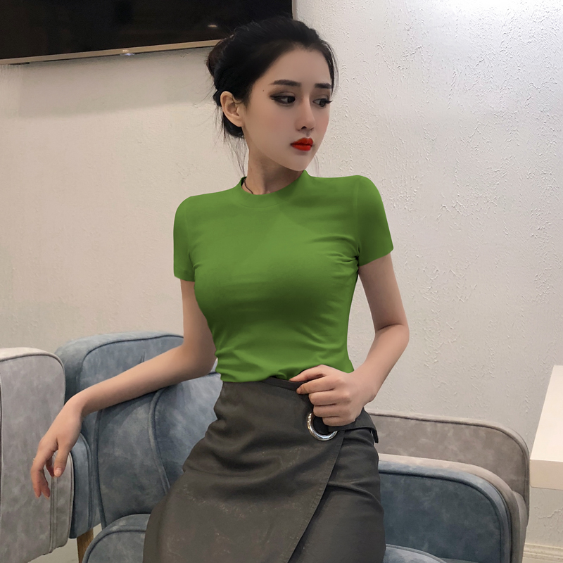 券后39.00元半高领牛油果绿t恤女紧身短袖 2019新款纯棉修身显瘦半袖打底衫潮