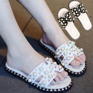 拖鞋儿童女童夏季可爱小公主时尚韩版一字拖珍珠拖鞋外穿摆拍凉拖