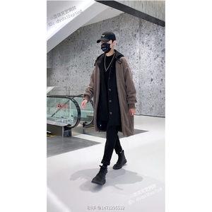 逆白灵珠文艺男装套装假两件羊羔毛中长款连帽毛呢外套韩版大衣男