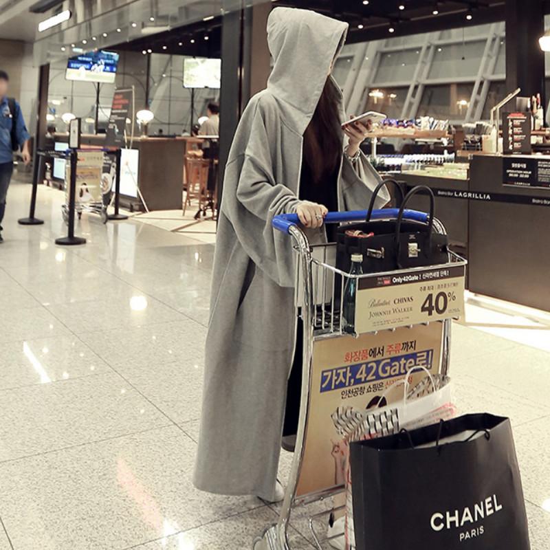 秋装韩版中长款灰色卫衣女宽松大码bf风学生过膝外套休闲连帽开衫