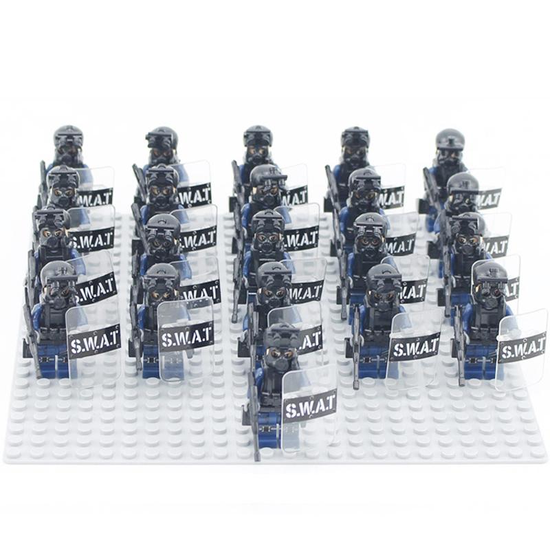 兼容乐高城市系列防暴警察军事士兵小队方阵小人仔积木拼装玩具