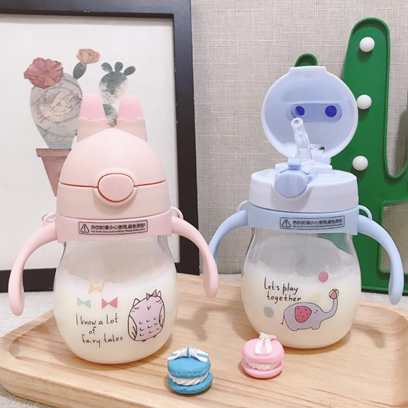 Детские Кубок, милая солома, чашка для питья, чашка для питья на младенца Утечка, анти-падение, анти-падение детские Чашка питьевой воды с ручкой