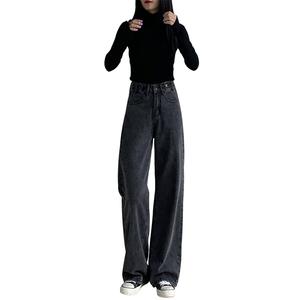 宽松直筒黑色2021年秋冬季牛仔裤