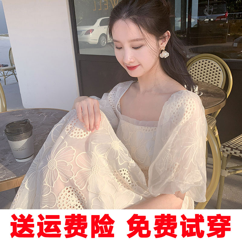 New dress 2020 new fashion girl summer white fairy bubble sleeve soft date square mouth dress