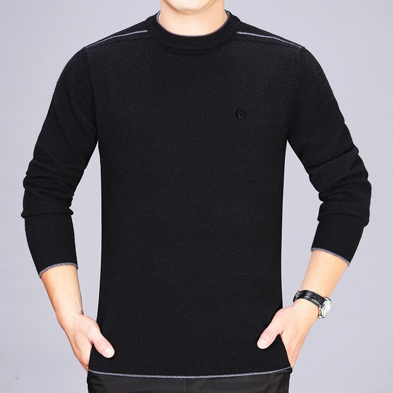品牌秋冬季中年男式羊毛衫中老年上衣毛衣圆领长袖羊绒衫爸爸装