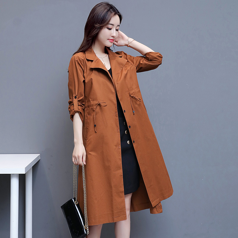 Cotton solid color commuting suit collar single breasted regular nine point sleeve windbreaker new womens coat in autumn of 2019