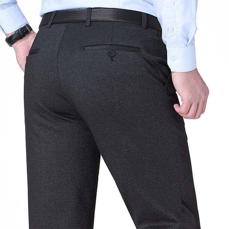 Autumn pleated mens trousers knitted straight pants middle age business dress mens trousers fathers non iron pants