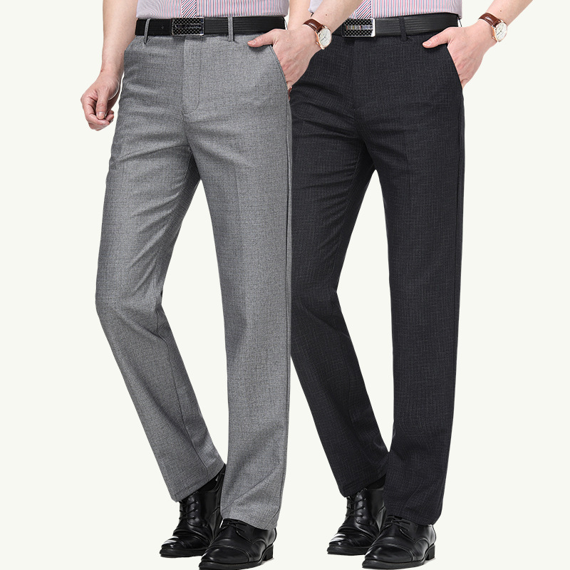 2020 spring and summer new mens casual pants fashion business middle waist straight tube lattice thin boutique cotton pants