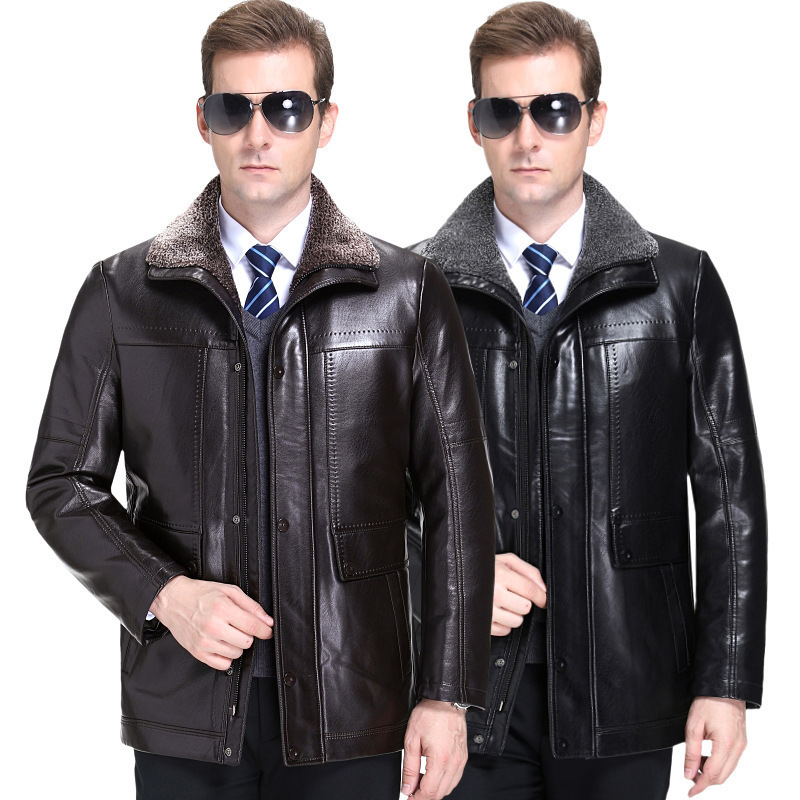 Haining leather fur coat mens fur one goat skin jacket winter wool Plush thickened coat