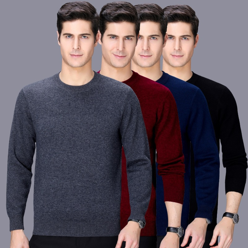 Mens sweater cashmere sweater 2020 winter mens round neck sweater mens business sweater middle aged fathers dress