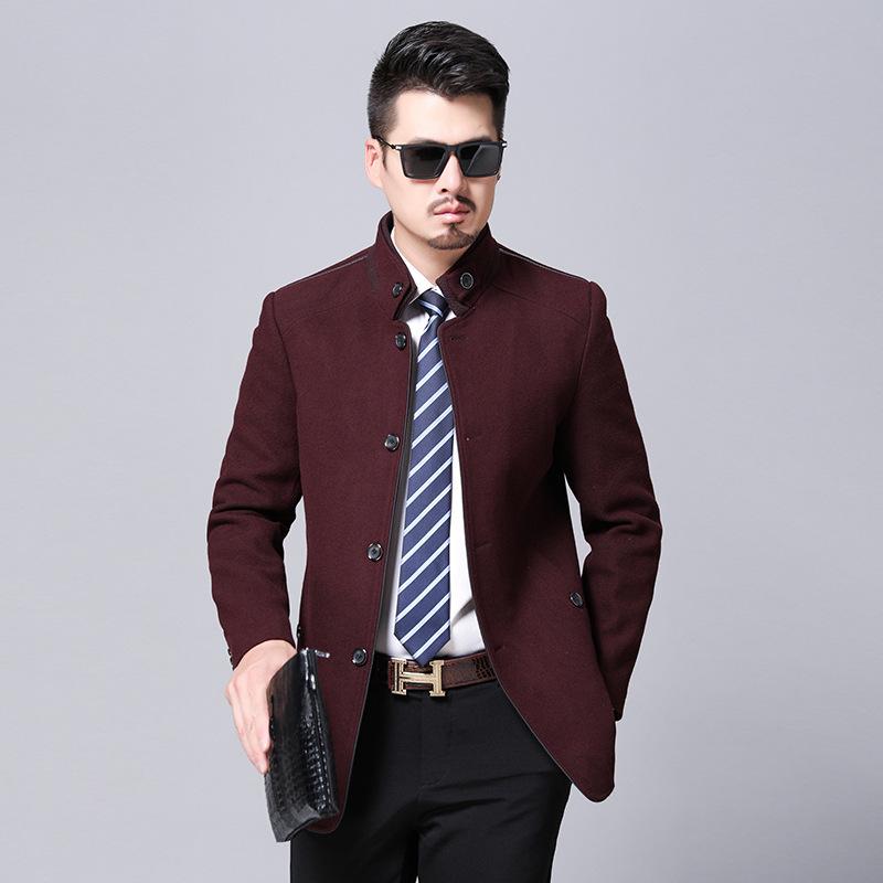 2019呢子商务新款男外套羊毛夹克衫中年整单款立领羊绒大衣男秋季