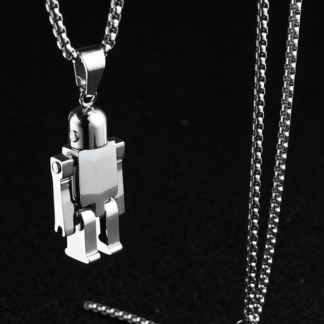 机器人男士钛钢嘻哈韩版个性潮挂坠满15元可用10元优惠券
