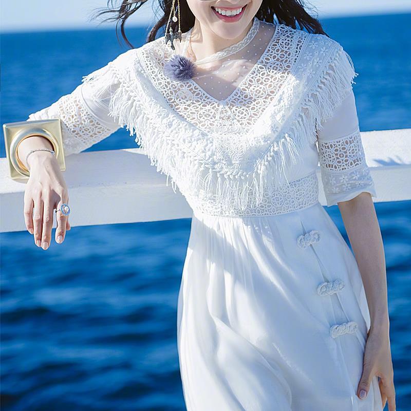 白色女仙气质ins网红蕾丝夏连衣裙满50元可用5元优惠券
