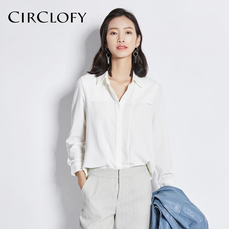 (用5元券)阿cir白色雪纺衫女长袖新款ol衬衣