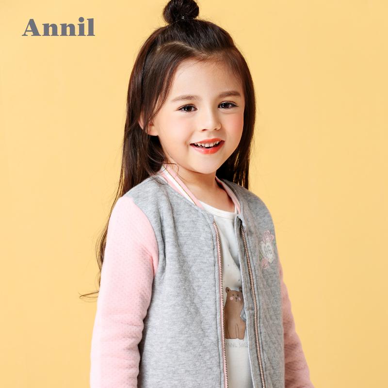 安奈儿童装女童外套秋季中大童针织纯棉撞色拼接棒球服AG635646