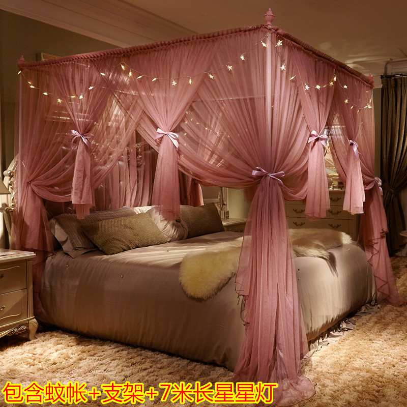 2020 new mosquito net landing net red ins girls heart 1.8m bed double household 1.5m Princess wind falling ground branch