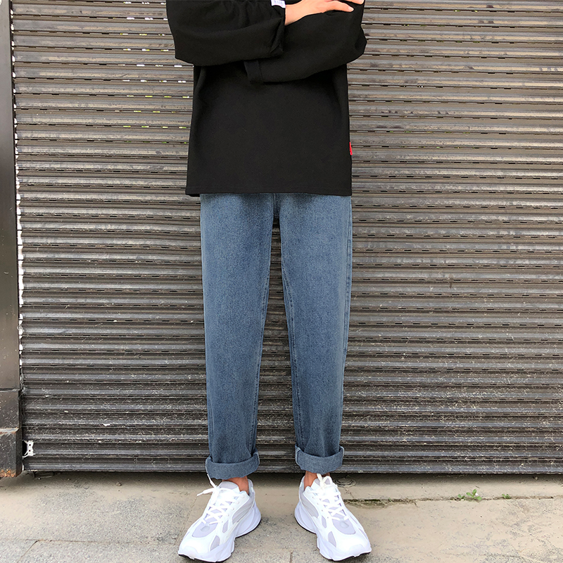 bf牛仔裤男原宿风ulzzang港风学生韩版潮流ins宽松直筒九分裤子男限1000张券