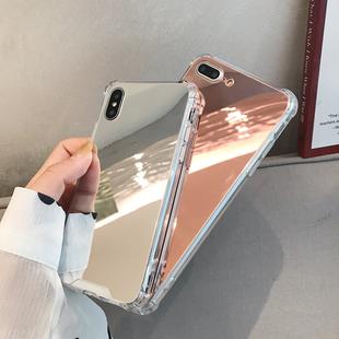 补妆神器iPhoneX镜子手机壳12苹果7plus网红同款镜面防摔软壳8P女款iphone6splus保护套简约苹果Xs MAX手机壳