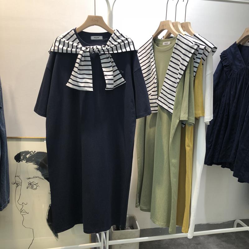 韩国海军风条纹脱卸披肩中长款T恤女夏季宽松短袖棉质连衣裙连帽限时抢购