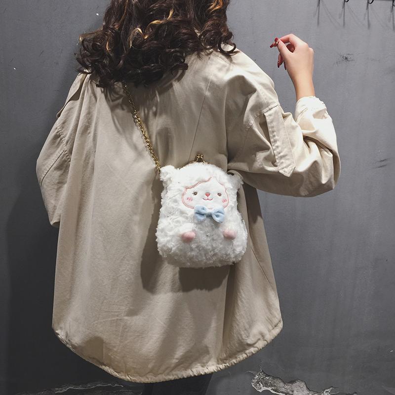 冬季包包女包2020新款学生链条日系小挎包可爱卡通毛毛单肩斜挎包