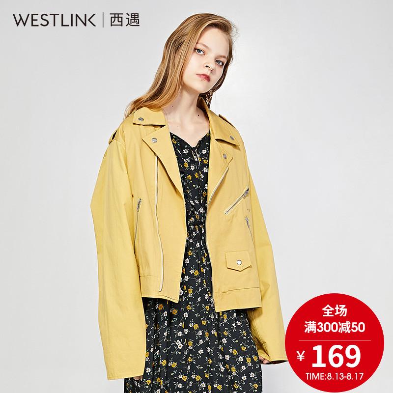 西遇女装2018春季新款字母印花内里纯棉机车夹克短外套女直筒休闲